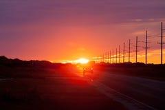 Ilha OBX NC E.U. de Hatteras do tráfego de carro da estrada 12 Foto de Stock