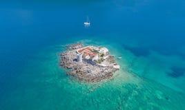Ilha Otocic Gospa perto da ilha de Mamula Foto de Stock