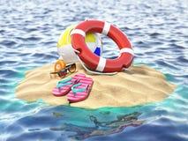 Ilha pequena com bola e flip-flops do cinto de salvação Vacat da viagem do verão Imagem de Stock Royalty Free