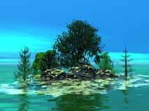 Ilha pequena montanhosa com árvores Imagem de Stock Royalty Free