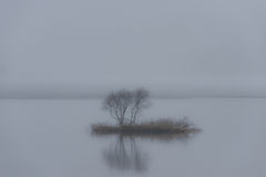 Ilha pequena na névoa foto de stock