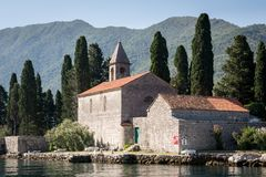 Ilha St George e igreja, Perast, Montenegro fotografia de stock