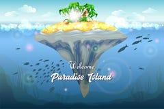 Ilha tópica do recurso Cartão _1 do convite O fundo do mar e a água subaquáticos do recife de corais surgem com imagem tropical d ilustração royalty free