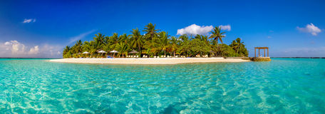 Ilha tropical com areia e as palmeiras brancas Fotos de Stock Royalty Free
