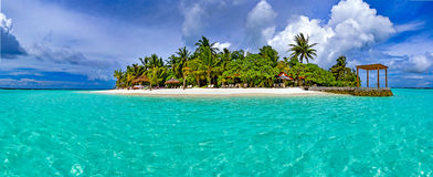 Ilha tropical com areia e as palmeiras brancas Fotografia de Stock