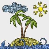 Ilha tropical com palmas e ondas Fotos de Stock