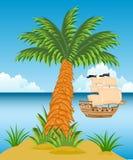 Ilha tropical com palmeiras Fotografia de Stock
