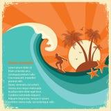 Ilha tropical da onda grande do surfista e do mar no papel velho Foto de Stock Royalty Free