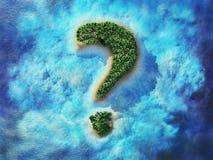 Ilha tropical dada forma ponto de interrogação Uma ilha na forma de um ponto de interrogação Ilustração do curso 3d Fotografia de Stock