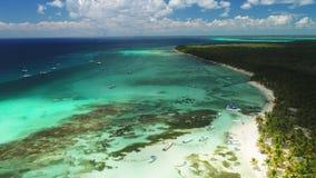 Ilha tropical de Paradise no mar das caraíbas Vista panorâmica da praia selvagem exótica selvagem filme