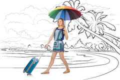 A ilha tropical de viagem da jovem mulher no conceito do curso Fotografia de Stock Royalty Free