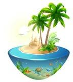 Ilha tropical do paraíso no mar Palma, castelo da areia e tartaruga de mar Feriados das férias da praia do verão ilustração do vetor