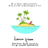 Ilha tropical Logo Hand do oceano das férias de verão ilustração stock