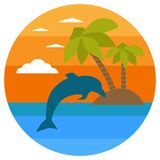 Ilha tropical, palmas, golfinho Bandeiras do verão com símbolos marinhos Ilustração do vetor Por do sol tropical Eu amo o conceit ilustração do vetor