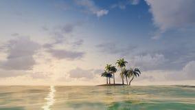 Ilha tropical pequena entre o oceano ilustração royalty free