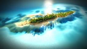 Ilha tropical pequena no atol de Maldivas da rendição da vista aérea 3d Foto de Stock Royalty Free