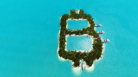A ilha tropical sob a forma de Bitcoin 3D rende Fotos de Stock