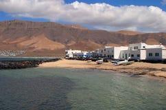 Ilhas Canárias da Espanha, Lanzarote, praia de Famara Imagem de Stock Royalty Free