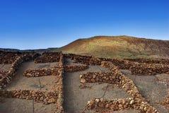 Ilhas Canárias secas das paredes de pedra Fotografia de Stock