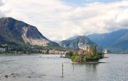 Ilhas de Borromean - ilha do ` s dos pescadores de Isola Superiore no lago Maggiore - Stresa - Itália imagem de stock