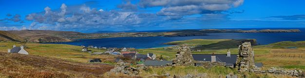 Ilhas de Levenwick Shetland que olham o leste norte Fotos de Stock Royalty Free