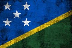 Ilhas de Salomon oxidadas e ilustração da bandeira do grunge ilustração do vetor