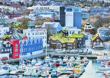 Ilhas de Torshavn Faroé imagens de stock