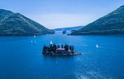 Ilhas na baía de Kotor, Perast, Montenegro, Fotos de Stock