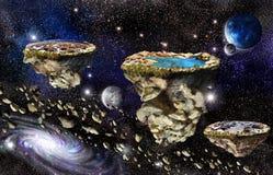 Ilhas no espaço do universo Fotografia de Stock Royalty Free