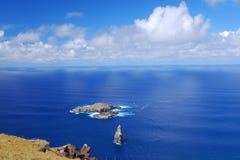 Ilhota de Moto Nui no console de Easter Fotografia de Stock