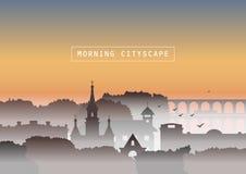 Ilhouettes van kerk, oude huizen, bomen en brug in mist op achtergrond van zonsopgang stock illustratie