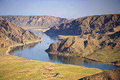 Ili river. Meanders of river in valley Stock Photo