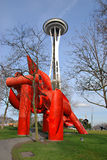 Iliad and the Space Needle Stock Photo