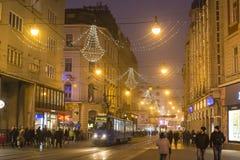 Ilicastraat, Zagreb, Kroatië stock foto