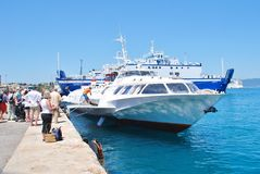 Ilida II hydrofoil, Corfu Royalty Free Stock Photos