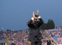 Ilie Dumitrescu. The coach of Steaua Bucharest during Steaua - Victoria Branesti match Stock Photo