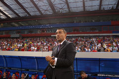 Ilie Dumitrescu. The coach of Steaua Bucharest during Steaua - Victoria Branesti match Stock Photos