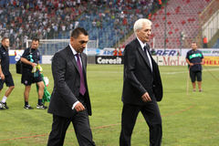 Ilie Dumitrescu. Coach at Steaua Bucharest during the match against Grasshopper Zurich Royalty Free Stock Photos