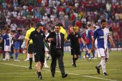 Ilie Dumitrescu. (coach of Steaua) during Steaua Bucharest - Grasshopper Club Zurich match Royalty Free Stock Image