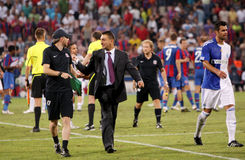 Ilie Dumitrescu. (coach of Steaua) during Steaua Bucharest - Grasshopper Zurich match Royalty Free Stock Images