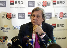 Ilie Nastase. Former ATP Romanian star Ilie Nastase pictured during the press conference held to present the new trophy of the ATP 250 tournament BRD Nastase Royalty Free Stock Photography