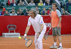 Ilie Nastase. Former tennis player Ilie Nastase pictured during a charity tennis game held during BRD Nastase-Tiriac Trophy Royalty Free Stock Photo