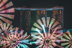 Flower Clock with the Marina Bay Sands in the background for Singapore iLight 2019 royalty free stock photography
