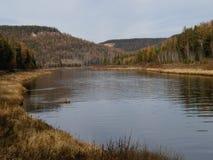Ilim flod i östliga Sibirien, Ryssland, höstlandskap Arkivbild