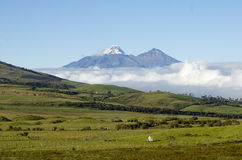 Iliniza Sur Iliniza Norte Volcanos in Ecuador. Cotopaxi is a volcano in the Andes Mountains near Quito, Ecuador. These are a pair of dead volcanos West of Stock Photo