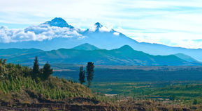 Ilinizas volcanos, Andes. Ecuador. Ilinizas Nature Reserve. Los Ilinizas - these 2 volcanos: Iliniza Sur at 5263m and Iliniza Norte at 5126m Royalty Free Stock Images