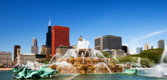 ilinois фонтана chicago buckingham Стоковые Изображения RF