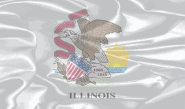 Ilinois State Silk Flag. Illinois state flag over the white background Stock Photography