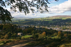 Ilkley Moor. And a view over Ilkley and the Wharfe Valley royalty free stock photo