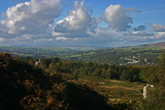 Ilkley Moor. And a view over Ilkley and the Wharfe Valley royalty free stock image